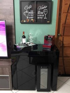 Aparador/Adega/Bar Vidro Pintado de Preto