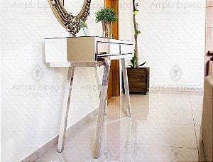 Aparador Espelho Bisotado Com 2 Gavetas Pés cromados