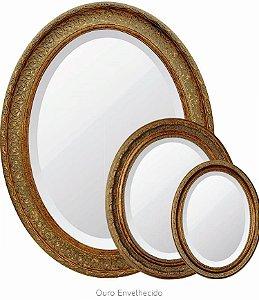 Espelho C/ Moldura Oval Classico Bizotado Retro Decorativ