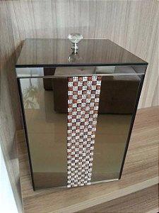 Lixeira Espelhada Bronze Para Banheiro  TP Sobrepor c/ Chaton Marrom