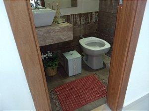 Lixeira Vidro Branco Para Banheiro TP Sobrepor Pérolas e Strass