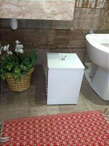 Lixeira Vidro Branco Para Banheiro TP Sobrepor