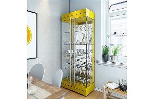 Cristaleira Moderna C/ Led Channel 2 Portas - Amarelo Brilho
