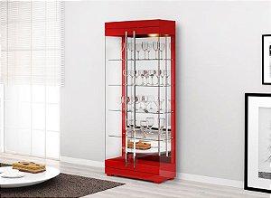 Cristaleira Moderna C/ Led Channel 2 Portas - Vermelho Brilho
