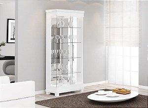 Cristaleira Moderna C/ Led Cristal 2 Portas - Branco Acetinado
