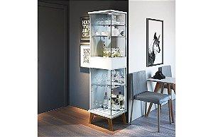Cristaleira Moderna Com Led Nuance 1 Porta - Branco Acetinado