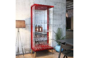 Cristaleira Retrô Com Led Tifanny 2 Portas - Vermelho Brilho