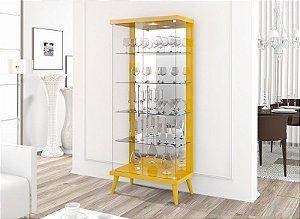 Cristaleira Retrô Com Led Tifanny 2 Portas - Amarelo Brilho