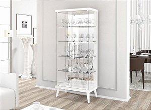 Cristaleira Retrô Com Led Tifanny 2 Portas - Branco Acetinado