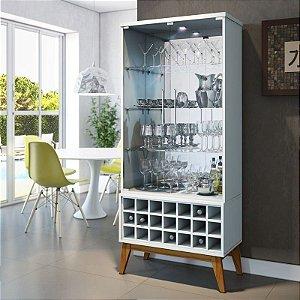 Cristaleira Moderna Com Led Cassic Ad- 2 Portas C/ Adega -Branco Acetinado
