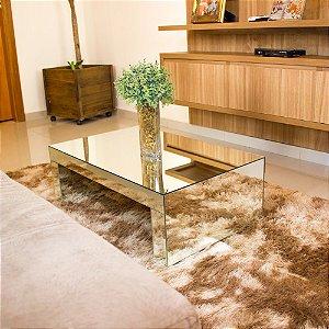 Mesa de Centro vazada espelho lapidado 80x50x25