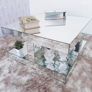 Mesa de Centro Espelhada Design Luxo 80 x 80 cm