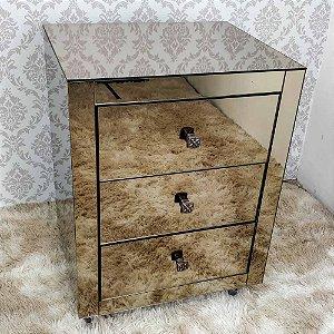 Criado Mudo Espelho Bronze 3 gavetas 50x40x65