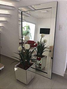 Kit Espelho de chão lapidado 200x100 + cachepô espelhado 45x45x45