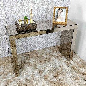 Aparador espelhado bronze com bisotê 120 x 85 cm