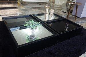 Mesa de centro em vidro preto lapidado medidas 120x90x20