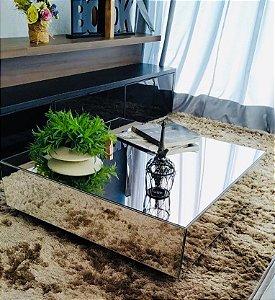 Mesa de Centro Espelhada Quadrada 80cmx80cmx30 cm Lapidada