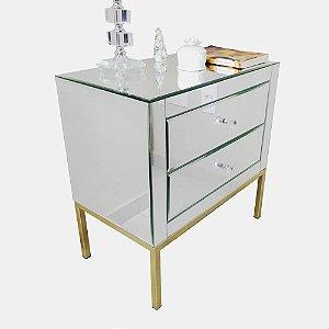 Mesa de Cabeceira Espelhado Prata com Pé Dourado Bisote 2 gavetas - 60x35x60
