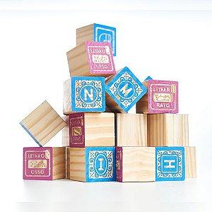 Kit ABC Entalhado Braile - Blocos de montar de madeira