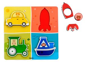 Quebra cabeça de encaixe - Transportes, cores e formas