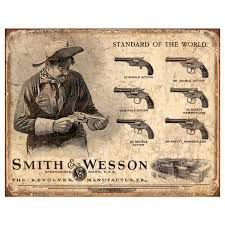 PLACA METAL DECORATIVA SMITH WESSON ROSSI LIQUIDAÇÃO