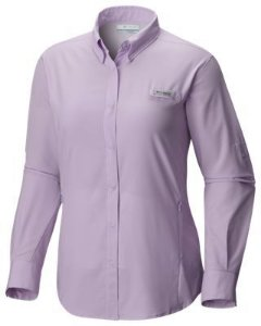 CAMISA M/L TAMIAMI PHANTOM PURPLE P FL7278 COLUMBIA