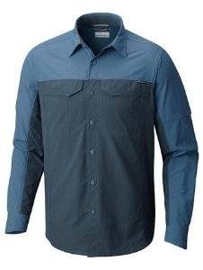 CAMISA MANGA LONGA SILVER RIDGE BLOCKED BLUE HERON MASCULINO AM1283 COLUMBIA