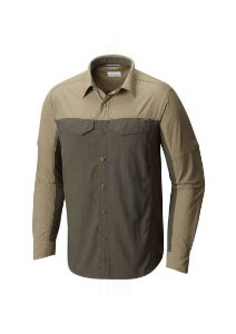 CAMISA MANGA LONGA SILVER RIDGE BLOCKED SAGE GRAVEL MASCULINO AM1283 COLUMBIA