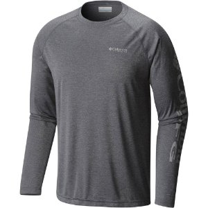 CAMISETA MANGA LONGA TERMINAL TACKLE HEATHER CHARCOAL MASCULINO FO1090 COLUMBIA