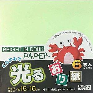 Papel P/ Origami 15x15cm Luminescente Face única 17  (6fls)