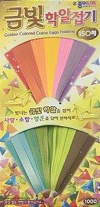 Papel p/ Origami 9x0,8cm Golden Colored Crane Eggs Folding 10 Cores DE17K1 (150fls)