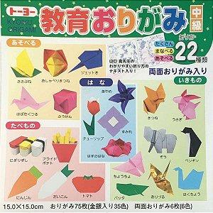 Papel P/ Origami 15x15cm Lisa Face Única & Dupla-Face 000011-300 Kyoiku (82fls)