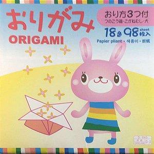 Papel P/ Origami 15x15cm 18 Cores Lisa Face única D-2 (98fls)