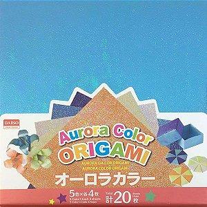 Papel de Origami 15x15 Face Única Aurora 5 Cores No. 16 (20 fls)