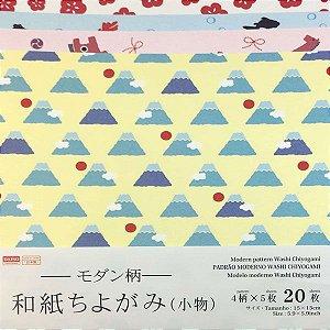 Papel p/ Origami 15x15cm Face Única Estampada Washi Modern Pattern No. 36 (20fls)