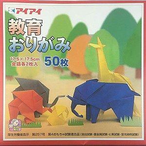 Papel de Origami 17,5x17,5cm Liso Face única 20 Cores K-2017 (50fls)