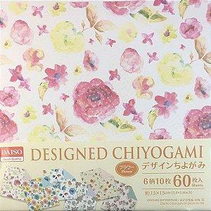 Papel p/ Origami 15x15cn Dupla-Face Estampada Designed Chiyogami Flower (60fls)