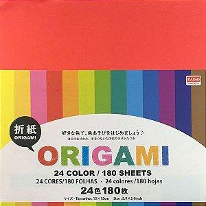 Papel de Origami 15x15cm Face Única Lisa 24 Cores No. 22 (180fls)