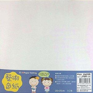 Papel P/ Origami 20x20cm Face Única Branca Iridescente FE01 (10fls)