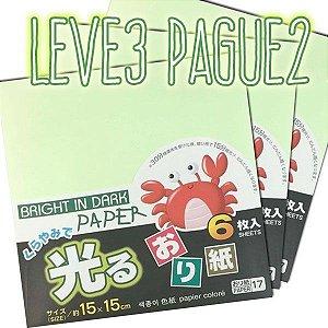 Papel P/ Origami 15x15cm Luminescente Face única No.17 (6fls/pacote) LEVE 3 PAGUE 2