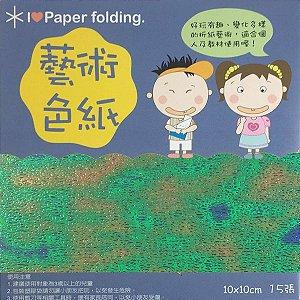 Papel para Origami 10x10cm Face Única Verde Iridescente EC25 (15fls) - 9425