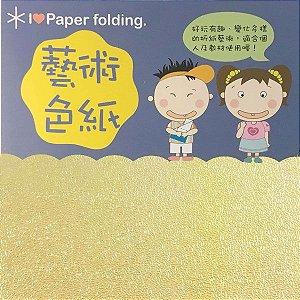 Papel p/ Origami 10x10cm Face Única Amarelo Iridescente EC25 (15fls)