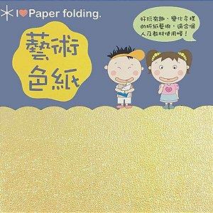 Papel p/ Origami 7x7cm Face Única Amarelo Iridescente EC20 (20fls)