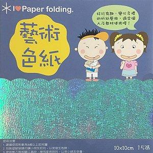 Papel p/ Origami 10x10cm Face Única Azul Claro Iridescente EC25 (15fls)