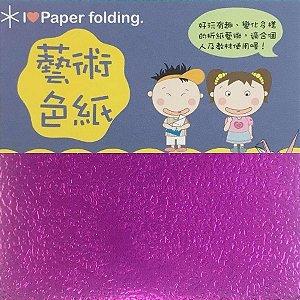 Papel p/ Origami 10x10cm Face Única Lilás Metálico EC25 (15fls)