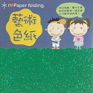 Papel p/ Origami 7x7cm Face Única Verde Metálico EC20 (20fls)