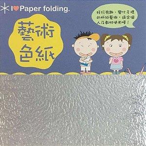 Papel p/ Origami 10x10cm Face Única Prateado EC25 (15fls)