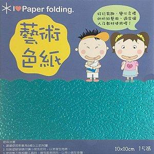 Papel p/ Origami 10x10cm Face Única Verde Água Metálico EC25 (15fls)
