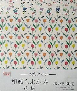 Papel p/ Origami 15x15cm Estampada Face Única (20fls) Washi Chiyogami Flor Aquarela- Daiso