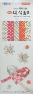 Papel p/ Origami 1,5x45cm Tiras Dupla-Face 5 Estampas AEE00026 (100fls)